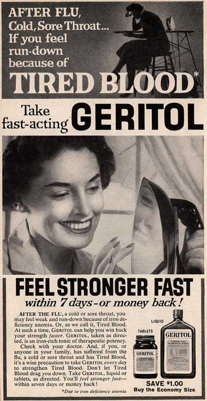 No Geritol for me. Also no ironing.