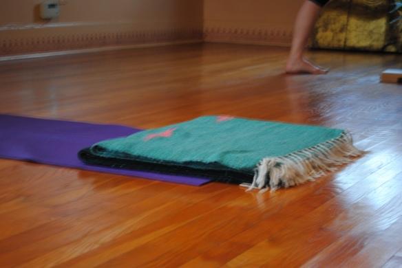 In the yoga studio.