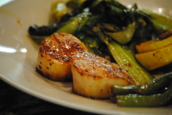 Stir fried bok choy, green beans, with garlic scales from my own yard, seared scallops.